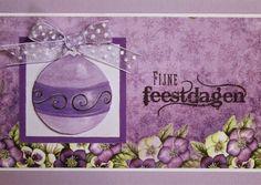 Marjoleine's blog: Paarse kerstkaarten met kerstballen