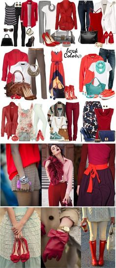 Сочетание красного цвета в одежде Красный цвет в одежде поддерживает классические гаммы: с белым, черным, серым и бежевым. Его можно сочетать с коричневым, синим и бирюзовым, мятным и оттенками пурпура.