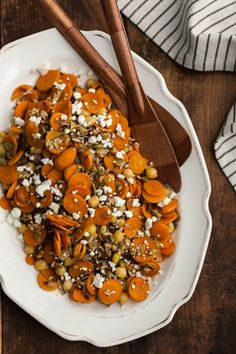 Cumin roasted carrots w wild rice and chickpeas
