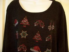 CJ Banks 3X Black LS Sweater Christmas Decor Poly Spandex NWOT Lagenlook Hem | Clothing, Shoes & Accessories, Women's Clothing, Sweaters | eBay!