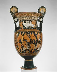 Terracotta volute-krater (vase for mixing wine and water)  Attributed to the Capodimonte Painter     Period:      Hellenistic  Date:      ca. 320–310 B.C.  Culture:      Greek, South Italian, Apulian  Medium:      Terracotta  Dimensions:      H. without handles: 36 1/16 in. (91.59 cm)  Classification:      Vases