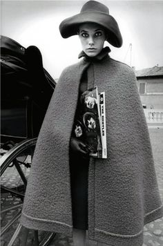Jane Birkin modeling Nina Ricci, photographed in Rome by Jeanloup Sieff for Harper's Bazaar, 1966.