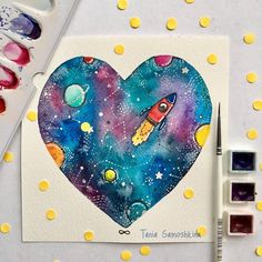Space  #all_I_love #illustration #cosmic #shapeofmyheart #things_i_love #artist4shoutout #watercolor #artistsoninstagram #watercolorart #painteveryday #illustrations #space