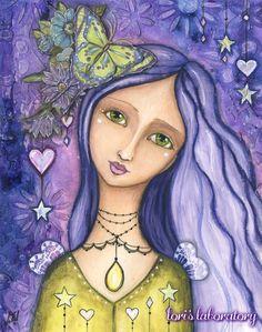 Watercolor Acrylic Mixed Media Painting - Purple Girl http://lorislaboratory.com/2016/03/28/video-watercolor-acrylic-purple-winged-girl/ #mixedmedia #artjournal #art #watercolor #acrylic #paint #drawing #portrait #illustration #purple