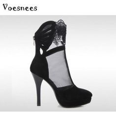 New Network Pumps Female Single Cool Spring And Summer Shoes Hollow Short  Boots Stiletto Heels Sexy 3450a96d80e2
