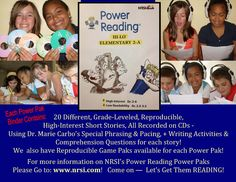 NRSI's Power Reading Power Paks K-12   Super High-Interest Recorded Stories Students Enjoy!   • Specially recorded to raise reading levels fast!  • Quickly builds fluency, comprehension, vocabulary!  • Creates motivated, independent readers!  • With hands-on games and assessment CDs!