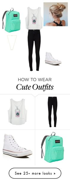 """cute summery outfit"" by pestiny on Polyvore featuring Frame Denim, Converse, JanSport and Wanderlust + Co"