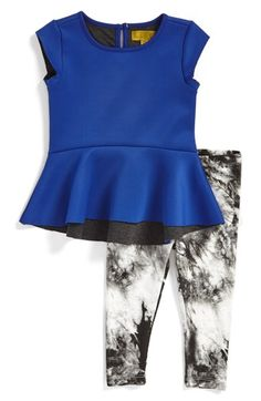 Nicole Miller Double Color Peplum Tunic & Leggings (Baby Girls) (Online Only) available at #Nordstrom