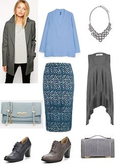 Perforated printed skirt is a base for this outfit