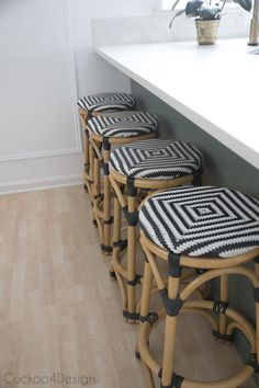 black and white rattan counter stools - My Home Decor Rattan Counter Stools, Kitchen Stools, Kitchen Decor, Kitchen Cabinets, Faucet Kitchen, Gold Kitchen, Green Kitchen, Rattan Furniture, Dining Room Furniture