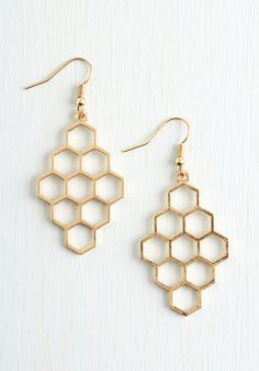 Honeycomb Away with Me Earrings. ModCloth, 13.