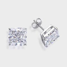 5 0 Ct Each Princess Cut 14k Stud Earring High Quality Cubic Zirconia Earrings