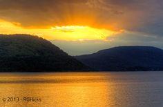 Riverfront Green Park  - Peekskill NY - deep yellow sunset