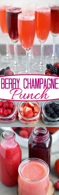 This Berry Champagne Punch is the perfect way to kick off New Year's Eve! This punch is super easy to prepare and is made with fresh berries and champagne or sparkling wine. Perfect for Valentine's Day, Easter brunch and Mother's Day too! // Mom On Timeout