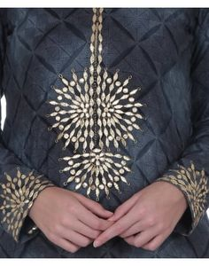 Grey Bagh and Gold Gota Patti Embroidered Suit
