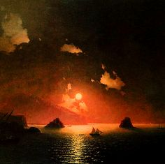 "nigra-lux: "" AIVAZOVSKY, Ivan (1817–1900) Gurzuf night (Гурзуф ночью), detail 1849 Ed. Orig.  Lic. Ed. """