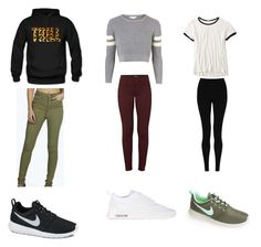 """Roshe Towne"" by awears on Polyvore featuring Boohoo, NIKE, Topshop, J Brand, American Eagle Outfitters and M&S Collection"