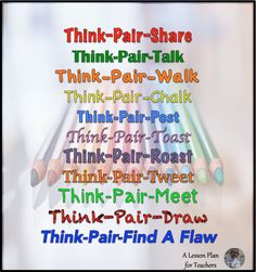 Variations for Think-Pair-Share in the Secondary Classroom - great, easy, clear descriptions! I like the additions to the original think-pair-share! Instructional Coaching, Instructional Strategies, Teaching Strategies, Teaching Tips, Thinking Strategies, Instructional Technology, Critical Thinking, Siop Strategies, Visible Thinking