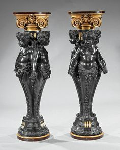 Baroque-Style Patinated and Gilt Bronze Pedestals : Lot 115