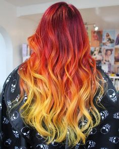 INFERNO Fire ombre from pink, to purple, to red, to orange and finally electric… – yellow hair Fire Ombre Hair, Fire Hair, Brown Ombre Hair, Ombre Hair Color, Orange Ombre Hair, Red Ombre, Orange Pink, Pink Purple, Dreads