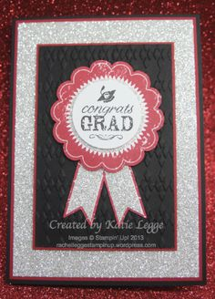 Stampin' Up! Graduation Card using Blue Ribbon and You Go Grad Stamps