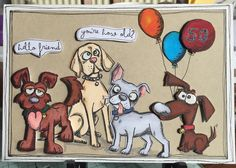 Tim Holtz Crazy Dogs coloured with Promarkers by Helen Bates