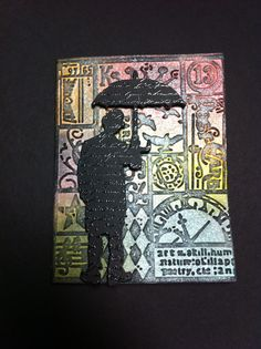 Masculine card, Tim Holtz Alterations Texture Fades, Tim Holtz Alterations Umbrella Man die, Stampabilities Faded Text Background stamp, Distress Inks.