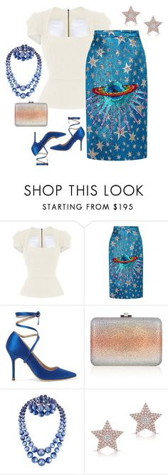 """""""Out of this world skirt set"""" by hokie-engineer-grl ❤ liked on Polyvore featuring Roland Mouret, Gucci, Vetements, Judith Leiber, Diamond Star, skirt and ootd"""