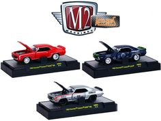 Auto Mods 1969 Chevrolet Camaro RS SS 396 and 1969 Chevrolet Camaro Z/28, 3 Cars Set WITH CASES 1/64 Diecast Models by M2 Machines - Brand new 1:64 scale diecast models of Auto Mods 1969 Chevrolet Camaro SS RS 396 and 1969 Chevrolet Camaro Z/28, 3 Cars Set WITH CASES by M2 Machines. Limited Edition. Brand New Box. Has Rubber Tires. Metal Body and Chassis. Detailed Interior, Exterior. Officially Licensed Product. Packed in an individualDISPLAY CASES. Dimensions of Each Car is Approximately…