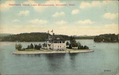 Rostrivoirs Island, Lake Quinsigamond Worcester, MA Postcard