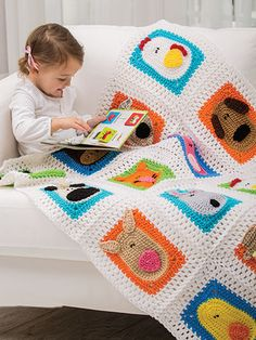 """This adorable blanket is made using worsted-weight yarn and measures 40""""W x 45""""L."""