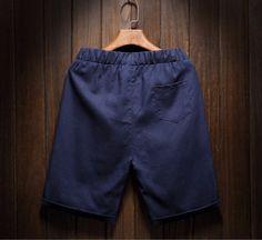 Men's Cotton Linen Shorts Breathable Beach Shorts Beads Light Navy - Shorts