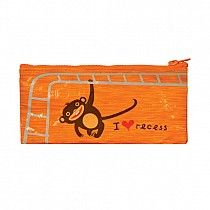 "#FCbqpencilcase224257 I Heart Recess Pencil Case - You must be kidding. That's the cutest monkey ever. Art by Haley Johnson. Awesomely convenient size. Keeps your tiny things tidy, and fits inside your other Blue Q bags! 95% post consumer recycled material. 4 1/4"" x 8 5/8""  $6.49  www.stylishorganics.com"