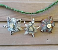 shotgun cartridge and pheasant feather Christmas star baubles tree decorations http://countrycraftybits.co.uk/