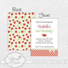 Strawberry Party. Printable Invitation Card by CherriesBerries, $12.00