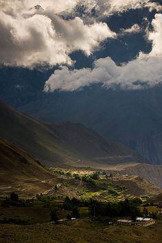 Muktinath, Nepal. Muktinath is a sacred place both for Hindus and Buddhists located in Muktinath Valley at an altitude of 12,172 feet at the foot of the Thorong La mountain pass. (V)