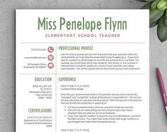 Elementary Teacher Resume Template  Cv Template  Cover Letter