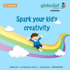 Kids are natural innovators with powerful imaginations. And creativity offers a bounty of intellectual, emotional and even health benefits. Raising a creative child is easier than you may think.There are endless opportunities to improve your kid's creativity. Ignite your child's imagination and spark your child's creativity with Globalart. Join Globalart Irumpanam now. Limited Seats Only. Call us for more details: 98956 60000 #Globalart #Kochi #Irumpanam #Art #Creativity #Drawing… Kochi, Global Art, Creative Kids, Your Child, Health Benefits, Raising, Imagination, Innovation, Improve Yourself