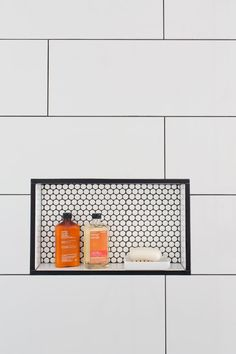 Nice difference in back of shower niche. The Pink Zipper: One Room Challenge - The Reveal of the Jack n'Jill Bathroom Niche, Shower Niche, Bathroom Renos, Bathroom Ideas, Master Bathroom, Bathroom Black, Bathroom Inspo, Shower Floor, White Tiles Black Grout