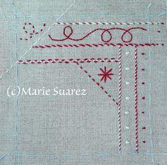 Brodez Avec Moi de Marie Suarez/ Etapa 3ª Marie Suarez, Stitch Games, Embroidery Sampler, Notebook, Crochet, Crafts, Tela, Book, Scrappy Quilts