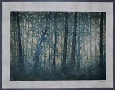 Original Fine Art Woodblock Print Forest No. 9 Hand by starkeyart