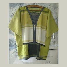 Losse tunic kimono lemon green gray tunic women's plus