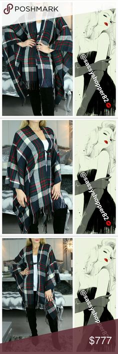 Fall Plaid print shrug NWOT Brand new no tags  Grab this fabulous soft plaid print shrug for your fall/winter wardrobe. Beautiful color combination and fringe details. Pair over a warm top, with out red fleece leggings and your favorite boots!!!  Colors green, navy blue, red and cream 100%acrylic Size L/XL  💖Shop with confidence💖💖 🎉🎊Suggested User🎊🎉 📮💌Same day shipping📮💌 5🌟🌟🌟🌟🌟star rated closet 👍👍Top seller👍👍 Sweaters Shrugs & Ponchos