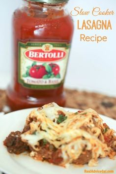 Slow Cooker Lasagna Recipe With Bertolli Sauce #AD