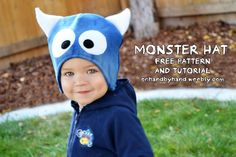 Fleece monster hat tutorial and pattern - kid sized (but specifics about the size).  Girls version has eyelashes and hair --- HA!!!!!!!