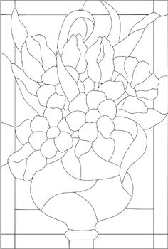 Stained Glass Pattern - Vase of Flowers