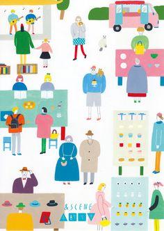 いつもお世話になっております &SCENE 手創り市(http://www.andscene.jp/)の2016年度版フライヤーイラストを描かせていただきました!2015年度に比べると、とてもにぎやかでカラフルに仕上がりました。いちばん気に入っているのは、肩にねこのっけたひげもじゃおじさんです。Funny!!!