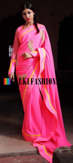 Buy Online from the link below. We ship worldwide (Free Shipping over US$100) http://www.kalkifashion.com/pink-saree-with-embroidery-by-gaurav-gupta.html Pink saree with embroidery by Gaurav Gupta