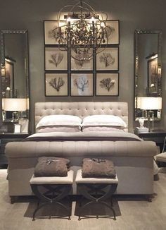 Love the use of mirrors next to the bed, to reflect more light and the art on the wall above the bed.