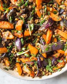 Warm Cumin Roasted Carrot, Red Onion and Lentil Salad | Deliciously Ella